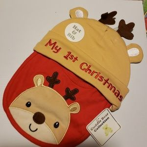 Other - My 1st Christmas hat and bib NEW